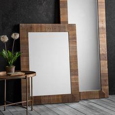 Farmhouse Rustic Rectangle Wall Mirror, Solid Wood Height 114cm, Width 84cm, Depth 4cm £149