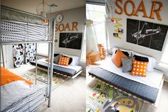 Shared Boy Bedroom Ideas - Under the Sycamore. I like the soar except changing it to ROAR for Jon's Dino room Shared Boys Rooms, Toddler Rooms, Kids Rooms, Boy Toddler, Boy Rooms, Baby Boys, Boys Bedroom Decor, Bedroom Ideas, Superhero Room