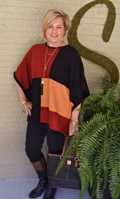 Fashion over 40 Color blocking with a poncho