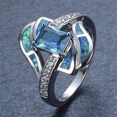 Blue Sapphire Opal Ring - AtPerrys.com - 1