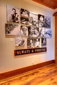 Great idea - a sign about friendship or family to accompany photos