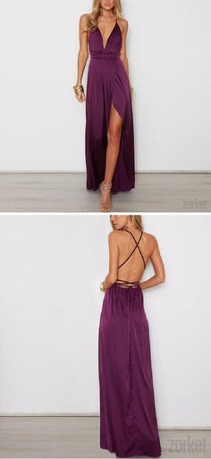 Satin #Backless Maxi #Dress in Purple ****need a dress like this****