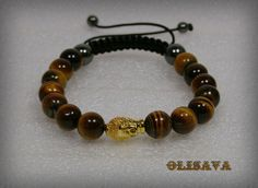 Men's Buddha Bracelet with 10 mm  Tiger Eye Beads   by Olisava