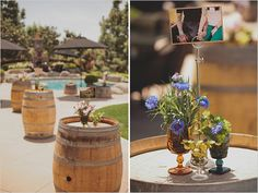 i like this idea for the bar area during the reception/cocktail hour...now to find more wine barrels!