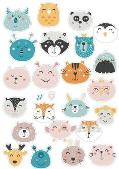 Journal Stickers, Scrapbook Stickers, Planner Stickers, Cute Illustration, Character Illustration, Printable Stickers, Cute Stickers, Animal Doodles, Tumblr Stickers