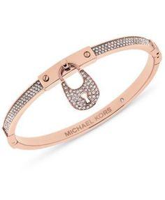 Michael Kors Rose Gold-Tone & Pavé Crystal Accented Bracelet | macys.com