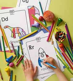 <p>Print out letter-specific coloring pages below. Each letter is accompanied by a word and an image of the word (D is for dinosaur, R is for rocket, etc.) The pages are perfect for home or travel -- just take along markers or crayons.</p>