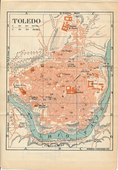1930 Toledo Spain Antique Map by Figure10 on Etsy
