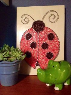 $44 etsy String Art Ladybug. Nursery Wall Art. Nailed It by NailedItDesign.etsy.com