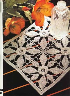 'Rose Quartet' Irish Crochet doily. Pattern is in English as well as diagrams……….