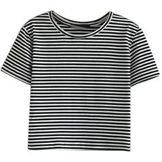 Monochrome Stripe Short Sleeve Cropped T-shirt (€17) ❤ liked on Polyvore featuring tops, t-shirts, shirts, crop tops, short sleeve t shirt, short sleeve tee, short sleeve shirts, short shirts and crop shirt