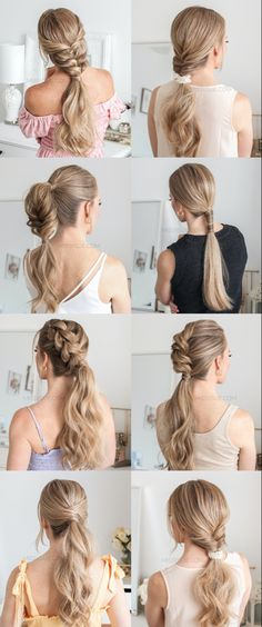 Seven ponytail hairstyles tutorial Cute Hairstyles For Teens, Teen Hairstyles, Braided Hairstyles, Ponytail Hairstyles Tutorial, Hairstyle Ideas, Fun Ponytails, Hair Sketch, Cool Braids, About Hair