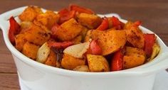 Southwest Roasted Sweet Potatoes & Peppers: These roasted sweet potatoes and bell peppers have bold Southwest flavor without added salt.