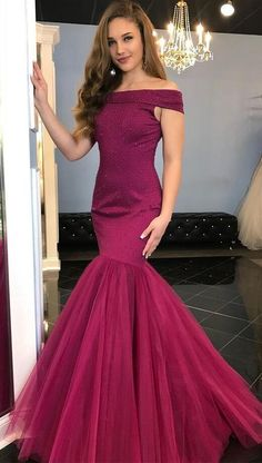 Off-the-Shoulder Prom Dress,Stain Prom Dress,Mermaid Prom Dress,Floor-Length Grape