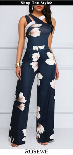 Cheap Navy Blue Jumpsuit Sleeveless Jumpsuit Floral Print Jumpsuit Fashion Jumpsuit for Women – XL Navy Blue Jumpsuit Sleeveless Jumpsuit . Blue Jumpsuits, Jumpsuits For Women, Playsuits, Vetement Fashion, Printed Jumpsuit, Mode Style, The Dress, African Fashion, Ideias Fashion