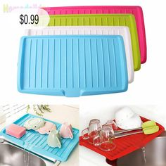 GBP - Plastic Kitchen Large Dish Drainer With Drip Tray Plate Rack Cutlery Holder & Garden Plate Racks, Dish Racks, Cutlery Holder, Dish Drainers, Drip Tray, Household Cleaning Supplies, Bathroom Shelves, Storage Rack, Organizer