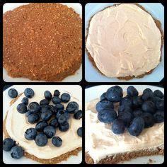 Blueberry Protein Tart + WIAW |      1/4 C cereal     1 tsp cinnamon     1 T vanilla protein powder     1 tsp chia seeds     2 T unsweetened vanilla almond milk (or liquid of choice)     5-6 drops vanilla liquid stevia (or your favorite sweetener)    For the Cream:      3 oz (1/2 container) Greek yogurt     1 T flour     5-6 drops vanilla liquid stevia