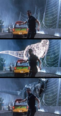 Jeff Goldblum being chased by T-Rex line art? #ForeverAlone