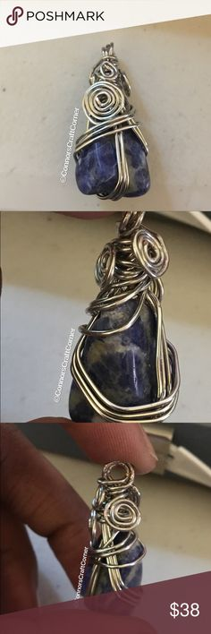 Handmade Copper Wire Wrapped Lapis Lazuli Pendant Hand wrapped Lapis Lazuli  tumbled stone. Wrapped using silver coated copper wire.   *pendant includes complimentary coated cotton cordage for immediate wear. Replacement with more permanent option is recommended. #wirewrapping #handmadjewelry #sodalitebrazil #semipreciousstone #connorscraftcorner #copperwire #etsyseller Connors Craft Corner Jewelry