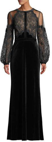 Shop Halter-Illusion Long-Sleeve Lace & Velvet Gown from Tadashi Shoji at Neiman Marcus Last Call, where you'll save as much as on designer fashions. Velvet Gown, Velvet Skirt, Black Wedding Dresses, Black Gowns, Korean Fashion Casual, Most Beautiful Dresses, Tadashi Shoji, Gowns With Sleeves, Gowns Online