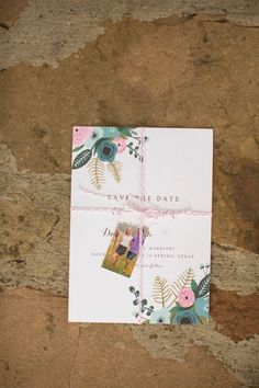 Wallaby hand-painted her Rifle Paper Co.-inspired save-the-dates and included a mini Moo card with an engagement photo and the Wallaby wedding website URL. The little package was tied up in pink baker's twine. Photo by Mustard Seed Photography Wedding Party Invites, Wedding Stationery, Party Invitations, Wedding Advice, Diy Wedding, Wedding Stuff, Invitation Design, Invitation Cards, One Sweet Day