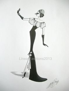Fashion Illustration  1930s fashion sketch  by LinearFashions, $42.00