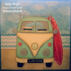 "VW Kombi Van by Denita Wright (Australia), A VW Kombi Surfie Dude Style (using some retired products, but so cool!) Paper Snips - essential Cardstock: Pool Party, Very Vanilla, Naturals Ivory, Basic Black, Brushed Silver & Tangerine Tango DSP: 'Sunshine & Sprinkles' retired :( Inkpads: Crumb Cake & Real Red Markers: Crumb Cake & Pool Party Punches: 3/8"" Circle (Itty Bitty Shapes), 1/2"" Circle, Circles from Owl Builder, Window Crystal Effects, Window Sheet, Cloudy Day TIEF (retired)"
