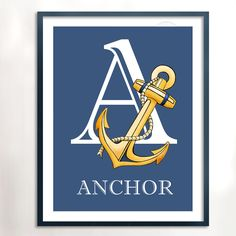 A is for Anchor 8x10 Art Print Nautical Art by PebblesPrints