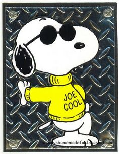 "❤Joe Cool Snoopy ""Always Stay Cool"" Peanuts Cartoon, Peanuts Snoopy, Peanuts Characters, Cartoon Characters, Charlie Brown Und Snoopy, Snoopy Quotes, Joe Cool, Snoopy And Woodstock, Animation"