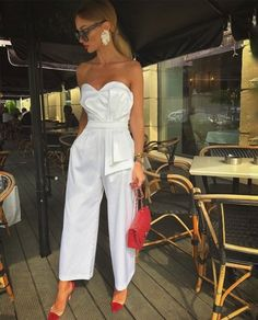 Date Outfit Ideas: Elegantly Dress up For a Date the Victoria-Fox Way Paris Chic, Jumpsuit With Sleeves, White Jumpsuit, Mesh Jumpsuit, Black Romper, White Pants, Look Fashion, Fashion Outfits, Womens Fashion