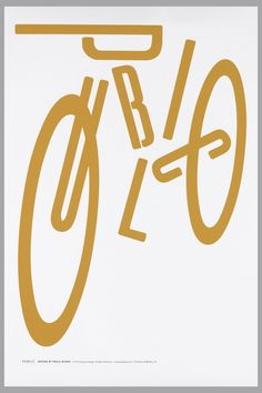 "On white ground, an abstracted orange bicycle composed of the word ""PUBLIC"" with two additional O's acting as wheels. Text in lower margin: PUBLIC DESIGN BY PAULA SCHER."