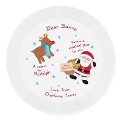 Personalised Plastic Plate - Santa and Rudolph Christmas Eve Rudolph Christmas, Christmas Eve, Christmas Drinks, Christmas Themes, Character Words, Mince Pies, Plastic Plates, Secret Santa Gifts, Dear Santa