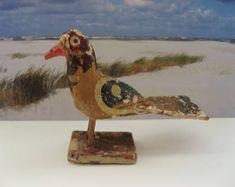 Antique miniature wooden bird figurine;  handmade, handpainted, erzgebirge or Indian, folk art, dollhouse,putz