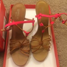 Coach Heels Beautiful for the summer !! size 8.5 , new with box , never worn Coach Shoes Heels