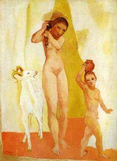 'junges mädchen mit ein ziege', öl von Pablo Picasso (1881-1973, Spain)