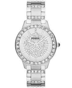 Fossil Watch, Women's Jesse Crystal Stainless Steel Bracelet 34mm ES3097