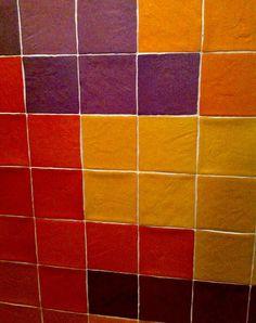 tegelinspiratie: rood, geel, paars, oranje mix