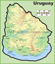 Large Detailed Map Of Uruguay With Cities And Towns Maps - Uruguay map atlas