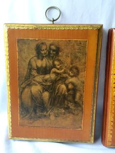 FLORENTINE Gold Pictures decoupage Rectangular Pictures set of two itslisn style by StudioVintage on Etsy