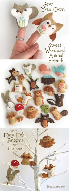 You will love sewing your own adorable felt animals with easy woodland animal patterns from little d Crafts To Do, Felt Crafts, Craft Projects, Sewing Projects, Crafts For Kids, Diy Christmas Ornaments, Felt Ornaments, Prim Christmas, Felt Patterns