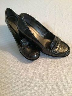 90d3e20ce104 Bandolino Womens Shiny Silver Slip-on Loafers Size 8M Round Toe 2.5 Square  Heel