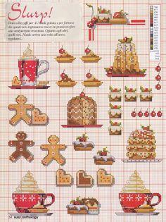 point de croix grille et couleurs de fils café liégeois et pain d'épices
