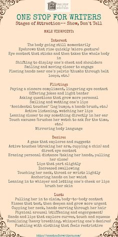 The 14 Potent Secrets of Attraction - Stages of Attraction: Body Language for HIM www. His Secret Obsession.Earn Commissions On Front And Backend Sales Promoting His Secret Obsession - The Highest Converting Offer In It's Class That is Creative Writing Tips, Book Writing Tips, Writing Words, Writing Process, Writing Resources, Writing Help, Writing Skills, Writing Outline, Writing Ideas