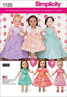 Items similar to Simplicity 0673 / - Fancy Party Dresses for American Girl or Other 18 Inch Dolls - Prom, Gown, Wedding - Doll Clothes - DIY - UNCUT on Etsy Girl Doll Clothes, Girl Dolls, Ag Dolls, Diy Clothes, Shrug For Dresses, Formal Dresses, American Girl Parties, Beautiful Party Dresses, Wedding Doll