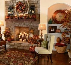 Gorgeous fall room and fireplace!
