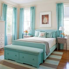 Better Homes & Gardens. Light teal bedroom with grey and coral touches. Love the foot of the bed furniture.- bedroom colors I WANT THIS ROOM! Dream Rooms, Dream Bedroom, Home Bedroom, Bedroom Decor, Seaside Bedroom, Bedroom Retreat, Master Bedroom, Pretty Bedroom, Bedroom Ideas