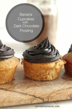 Banana Cupcakes with Dark Chocolate Frosting | A moist banana cupcake topped with rich dark chocolate frosting. #cupcakes #cupcakeideas #cupcakerecipes #food #yummy #sweet #delicious #cupcake