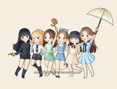 Trendy Ideas For Music Pop Illustration Gfriend And Bts, Music Doodle, Music Box Ballerina, Music Theme Birthday, Cute Kawaii Girl, Music Drawings, Anime Version, Fanarts Anime, G Friend