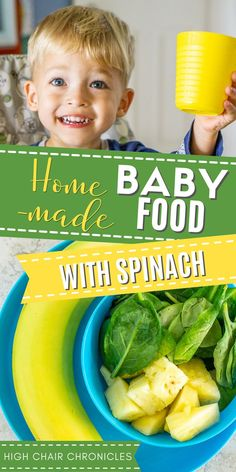 Looking to add more vegetables to your baby's or toddler food? Make this pureed baby food with spinach. I make this for my toddler almost every day and it gets a hidden serving of vegetables in without him even knowing, and still tastes great thanks to the banana and pineapple. Definitely try this recipe if you're looking for baby food recipes or healthy toddler meal ideas. Baby Makes, Food To Make, Spinach