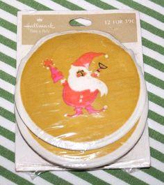 Vtg Hallmark Paper Coaster Set 12 Xmas Holiday Santa Beverage Cocktail Drink New #Hallmark